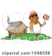 Clipart Happy Black Chef Holding A Thumb Up And Ribs With Tongs By A Smoke House Royalty Free Vector Illustration