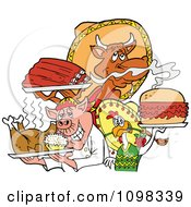 Clipart Chef Chicken Pig And Cow Holding Ribs Roasted Bird And Pulled Pork Burger Royalty Free Vector Illustration by LaffToon