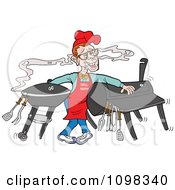 Clipart Nerdy Chef Drooling Over The Aroma From A Smoker And Barbeque Royalty Free Vector Illustration