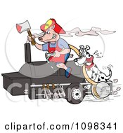 Clipart Firefighter Dalmation And Pig On A Smoker Bbq Royalty Free Vector Illustration by LaffToon