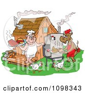 Clipart Chickens Running Around A Cow And Pig Using A Smoker And Cooking Meat At A Bbq Shack Royalty Free Vector Illustration
