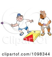 Clipart Caucasian And Black Man Playing Cornhole Bean Bag Toss Royalty Free Vector Illustration