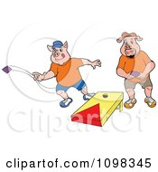 Clipart Two Pigs Playing Cornhole Bean Bag Toss Royalty Free Vector Illustration