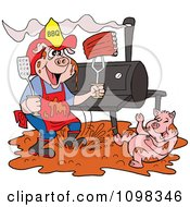 Clipart Bbq Pig Firefighter With Ribs A Smoker And Puddle Of Mud Royalty Free Vector Illustration by LaffToon