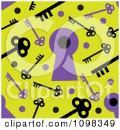 Clipart Seamless Purple And Yellow Skeleton Key And Keyhole Pattern Background Royalty Free Vector Illustration