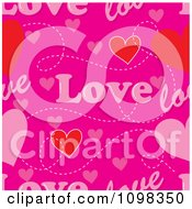 Seamless Pink Love Text And Hearts Pattern Background