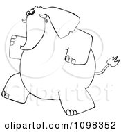 Outlined Elephant Running Upright