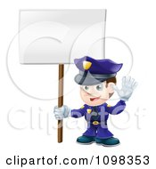3d Happy Police Officer Waving And Holding A Sign