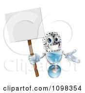 3d Happy Microphone Mascot Holding A Sign