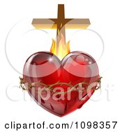 3d Sacred Heart With Flames Thorns And A Cross