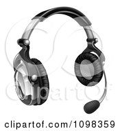 Clipart 3d Call Center Headset With Speaker Boom Royalty Free Vector Illustration