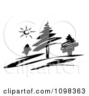 Black And White Sketched Landscape Of Evergreen Trees And Sun