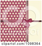 3d Pink Bow With Polka Dots On Beige