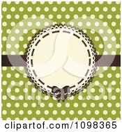 3d Brown Bow On A Frame With Beige Polka Dots On Green