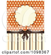 3d Brown Bow With Orange And Beige Stripes A Frame And Polka Dots
