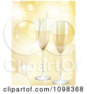 Clipart 3d Romantic Champagne Flutes Over Golden Light Flares Royalty Free Vector Illustration