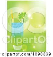 Clipart 3d Blue And Green Lime Garnished Cocktail Over Green With Flares Royalty Free Vector Illustration by elaineitalia