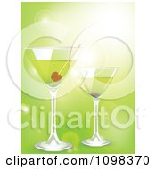 Clipart 3d Martini Cocktail Drinks Over Green With Flares Royalty Free Vector Illustration