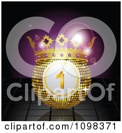 Clipart 3d Crowned Lottery Or Bingo Ball Over Reflective Tiles And Purple Flares Royalty Free Vector Illustration by elaineitalia
