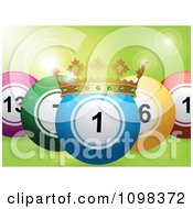 Clipart 3d Blue Crowned Lottery Or Bingo Ball With Other Balls Over Green With Flares Royalty Free Vector Illustration by elaineitalia