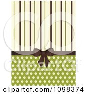 3d Brown Bow With Brown Green And Beige Stripes And Polka Dots On Green