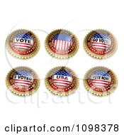 Clipart Six 3d 2012 Gold Red White And Blue US Presidential Election Buttons Royalty Free CGI Illustration