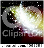 Clipart Blured Streak Of Light Shining Throug Particles Royalty Free Vector Illustration
