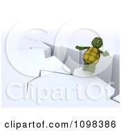 Clipart 3d Tortoise About To Fall Backwards From A Cliff Royalty Free CGI Illustration