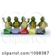 Clipart 3d Political Tortoises Canvasing For Votes In An Election Royalty Free CGI Illustration