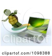 Clipart 3d Tortoise Surfing Over A Laptop Computer Royalty Free CGI Illustration