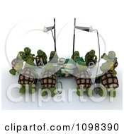 Clipart 3d Team Of Tortoises Working On A Race Car In A Pit Stop Royalty Free CGI Illustration