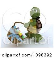 3d Easter Tortoise Swinging A Basket Of Eggs