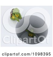 Clipart 3d Tortoise Calling Down To Another Stuck In A Deep Hole Royalty Free CGI Illustration