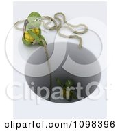 Clipart 3d Tortoise Dropping A Rope To Rescue Another Stuck In A Deep Hole Royalty Free CGI Illustration