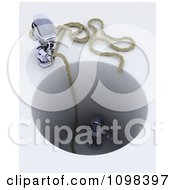 Clipart 3d Robot Dropping A Rope To Rescue Another Stuck In A Deep Hole Royalty Free CGI Illustration