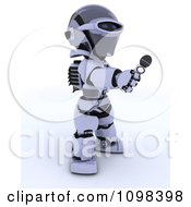Clipart 3d Reporter Robot Holding Out A Microphone Royalty Free CGI Illustration