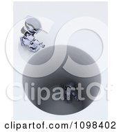 Clipart 3d Robot Calling Down To Another Stuck In A Deep Hole Royalty Free CGI Illustration