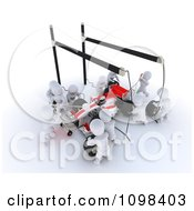 Clipart 3d White Character Pit Stop Team Working On A Race Car Royalty Free CGI Illustration