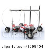 Clipart 3d Race Car In A Pit Stop Royalty Free CGI Illustration