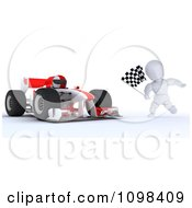 3d Winning Race Car Driver And White Character With A Checkered Flag At The Finish Line