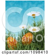 Clipart 3d Orange Easter Eggs In Grass With White Daisies Against A Blue Sky Royalty Free CGI Illustration