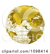 3d Golden Wire Grid Globe Featuring The Americas