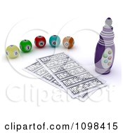 Clipart 3d Bingo Marker Resting By Cards And Balls Royalty Free CGI Illustration