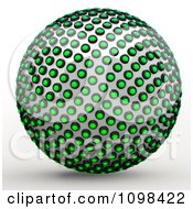 Clipart 3d Chrome And Green Light Sphere An Example Of A Fibonnacci Pattern Royalty Free CGI Illustration by Leo Blanchette