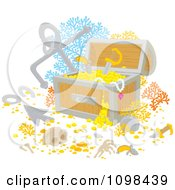 Clipart Sunken Treasure Chest With Gold Bones Coral And An Anchor Royalty Free Vector Illustration