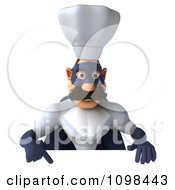 Clipart 3d Super Chef With A Sign 8 Royalty Free CGI Illustration