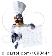 Clipart 3d Super Chef With A Sign 7 Royalty Free CGI Illustration
