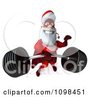 3d Super Santa Lifting A Heavy Barbell 3