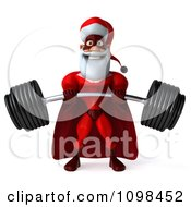 3d Super Santa Lifting A Heavy Barbell 1