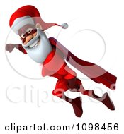 Clipart 3d Super Santa Flying 1 Royalty Free CGI Illustration